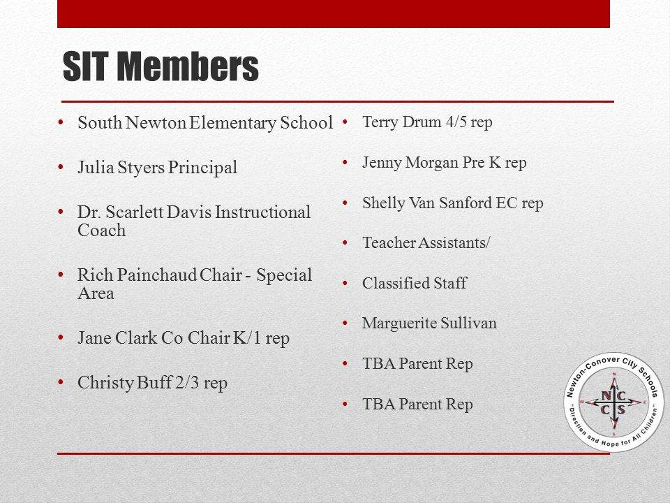 SIT Members South Newton Elementary School Julia Styers Principal Dr.