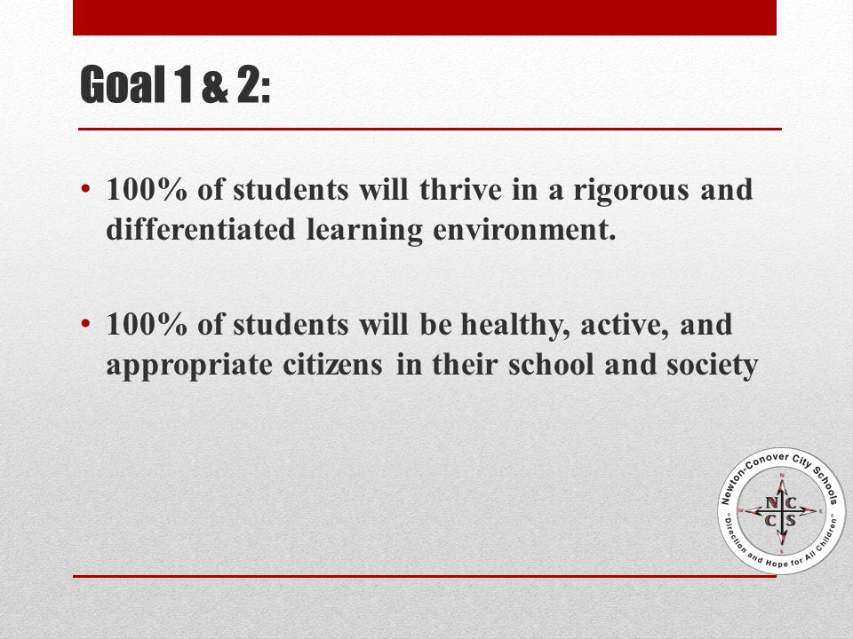Goal 1 & 2: 100% of students will thrive in a rigorous and differentiated learning environment.