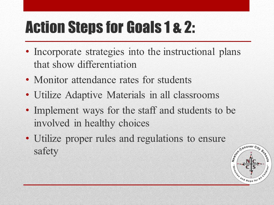 Action Steps for Goals 1 & 2: Incorporate strategies into the instructional plans that show differentiation Monitor attendance rates for students Utilize Adaptive Materials in all classrooms Implement ways for the staff and students to be involved in healthy choices Utilize proper rules and regulations to ensure safety