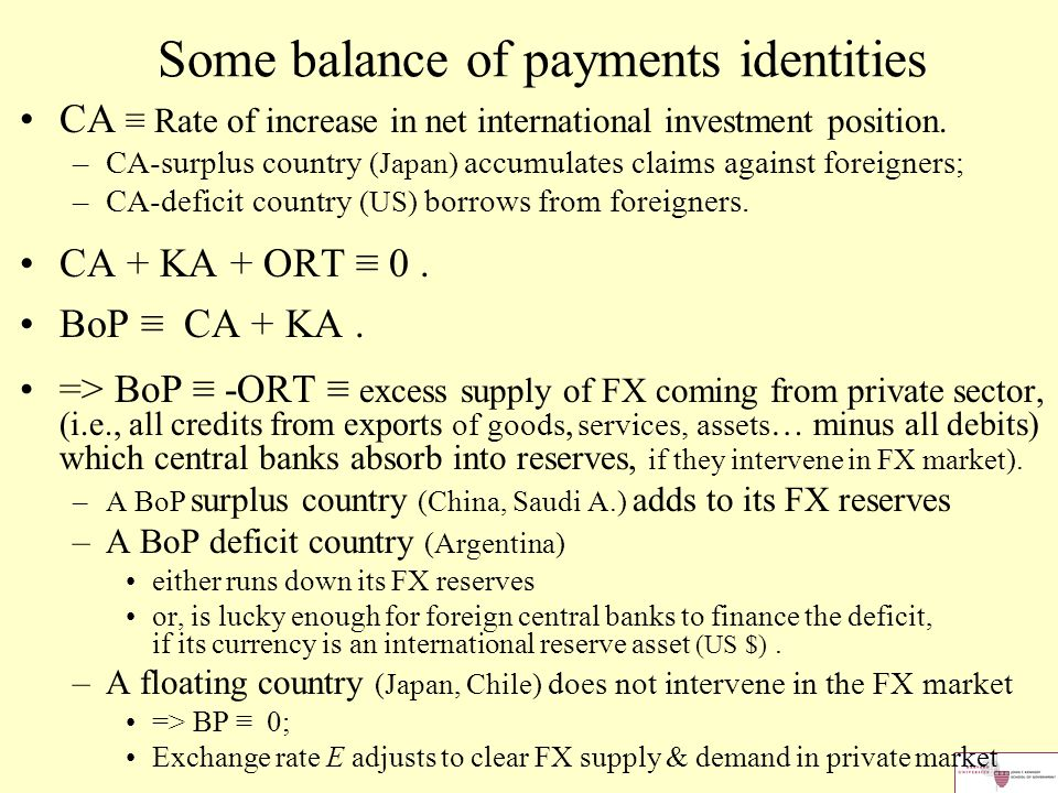 Some balance of payments identities CA ≡ Rate of increase in net international investment position.