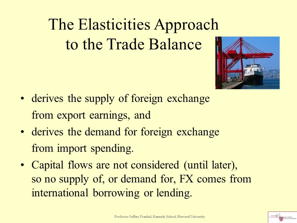 Professor Jeffrey Frankel, Kennedy School, Harvard University The Elasticities Approach to the Trade Balance derives the supply of foreign exchange from export earnings, and derives the demand for foreign exchange from import spending.
