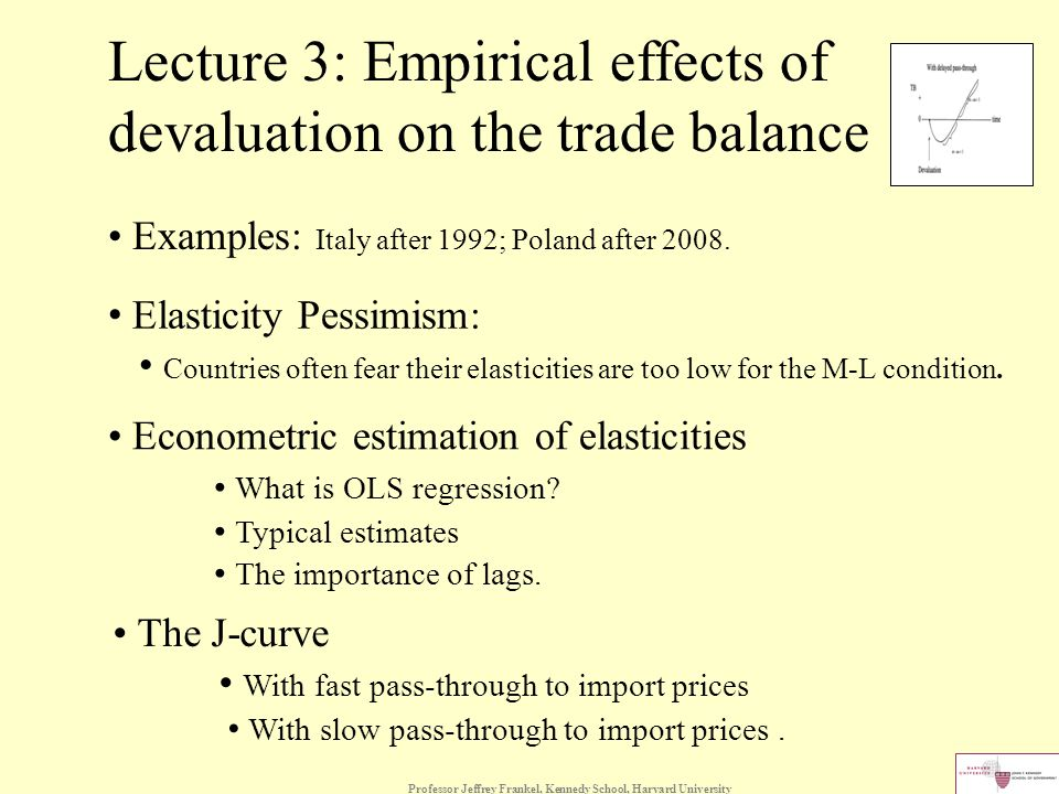 Professor Jeffrey Frankel, Kennedy School, Harvard University Lecture 3: Empirical effects of devaluation on the trade balance Examples: Italy after 1992; Poland after 2008.