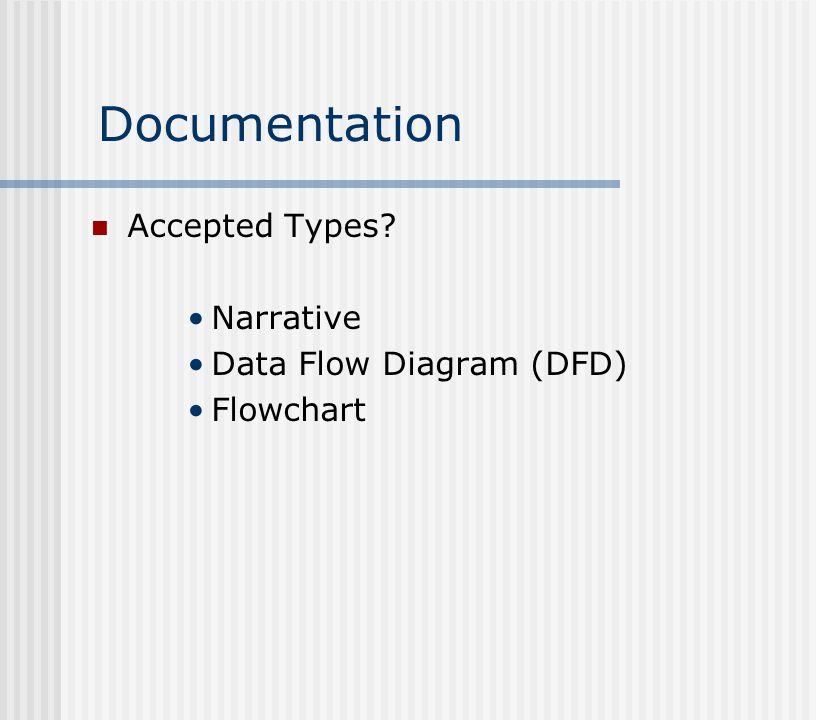 Documentation Accepted Types Narrative Data Flow Diagram (DFD) Flowchart