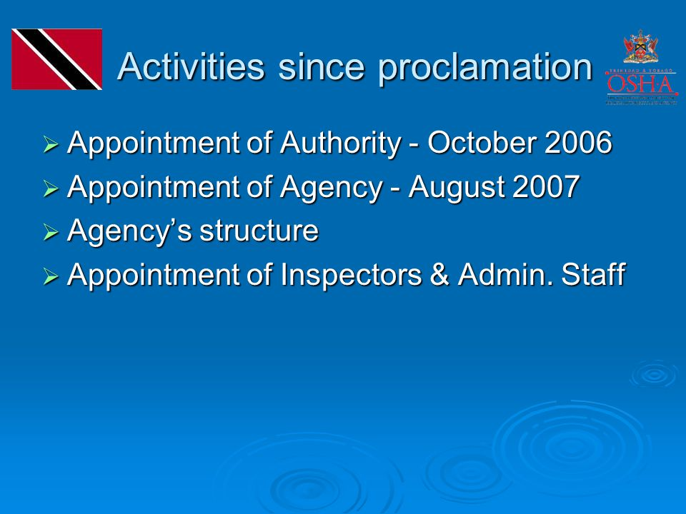 Activities since proclamation Activities since proclamation  Appointment of Authority - October 2006  Appointment of Agency - August 2007  Agency's structure  Appointment of Inspectors & Admin.