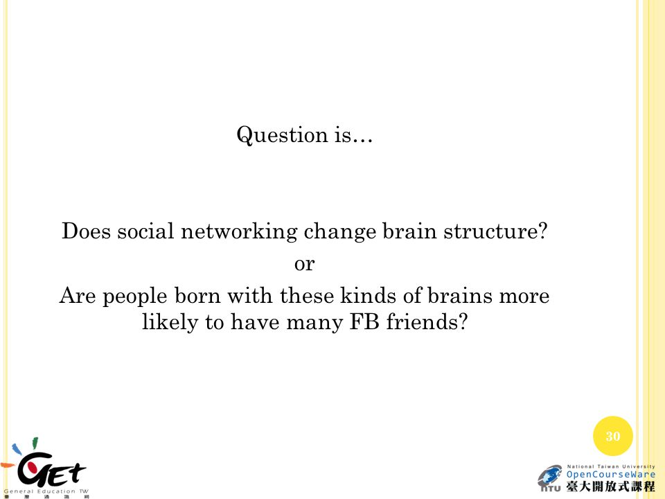 Question is… Does social networking change brain structure? or Are people born with these kinds of brains more likely to have many FB friends? 30