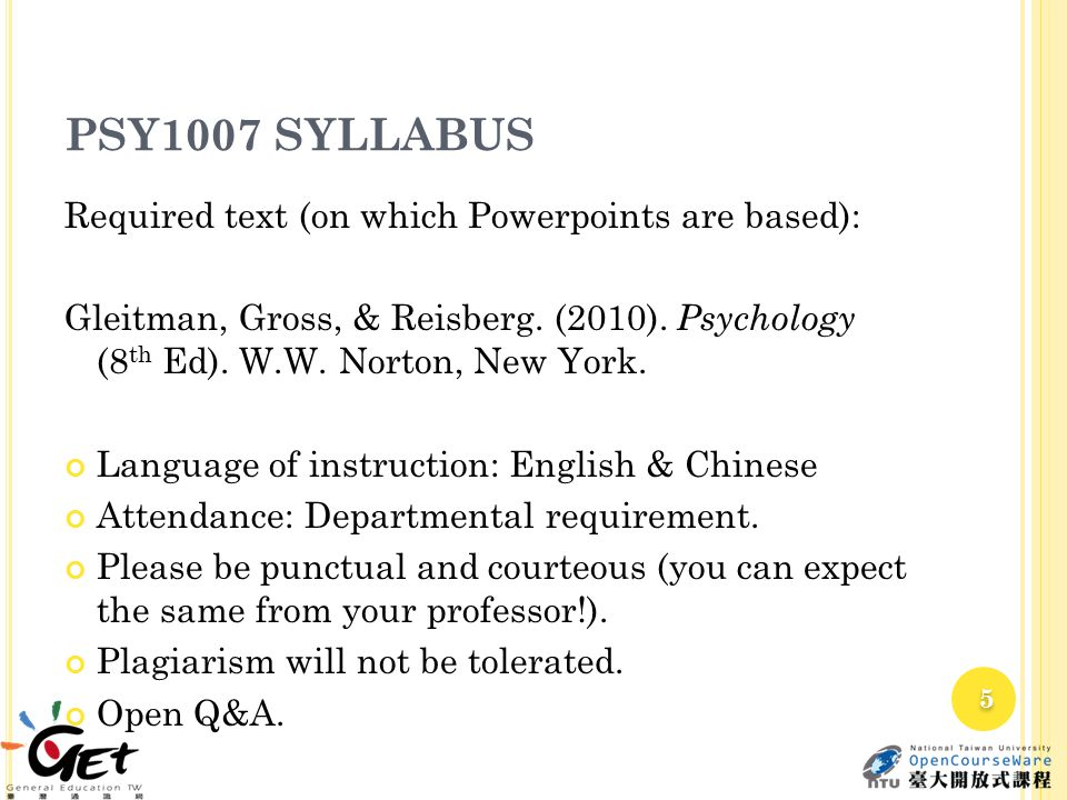 PSY1007 SYLLABUS Required text (on which Powerpoints are based): Gleitman, Gross, & Reisberg. (2010). Psychology (8 th Ed). W.W. Norton, New York. Lan