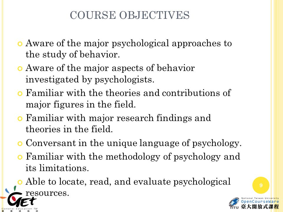 COURSE OBJECTIVES Able to gain self understanding and a greater understanding of others.