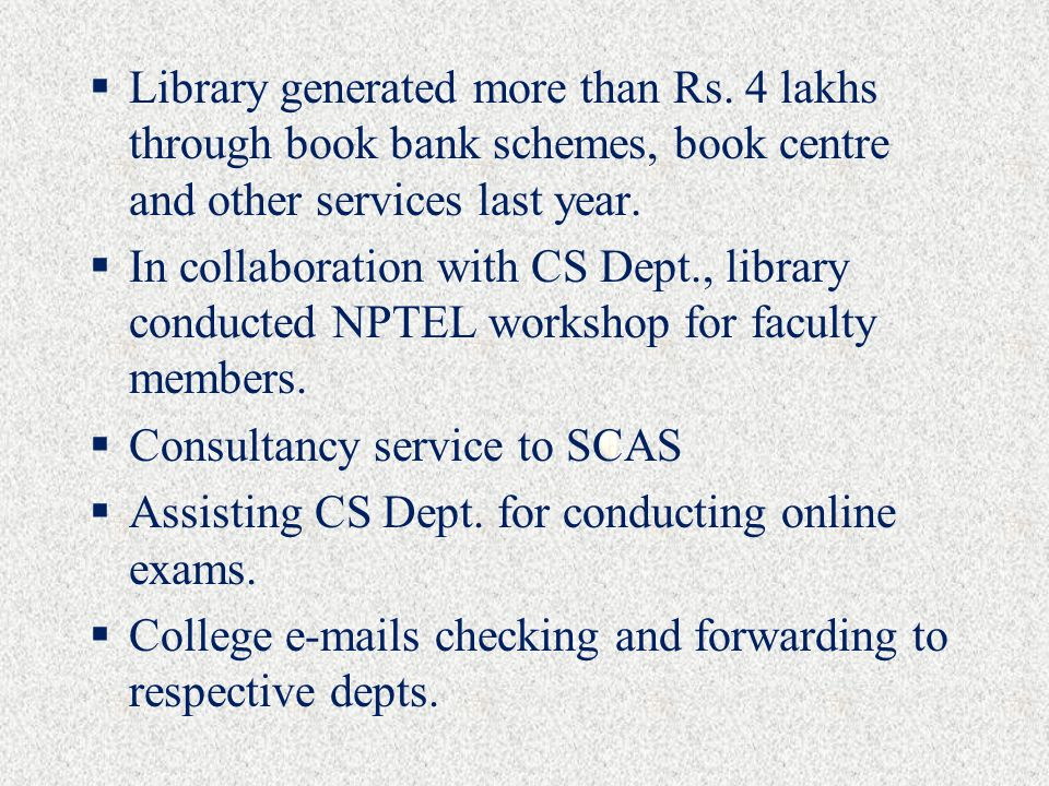  Library generated more than Rs.