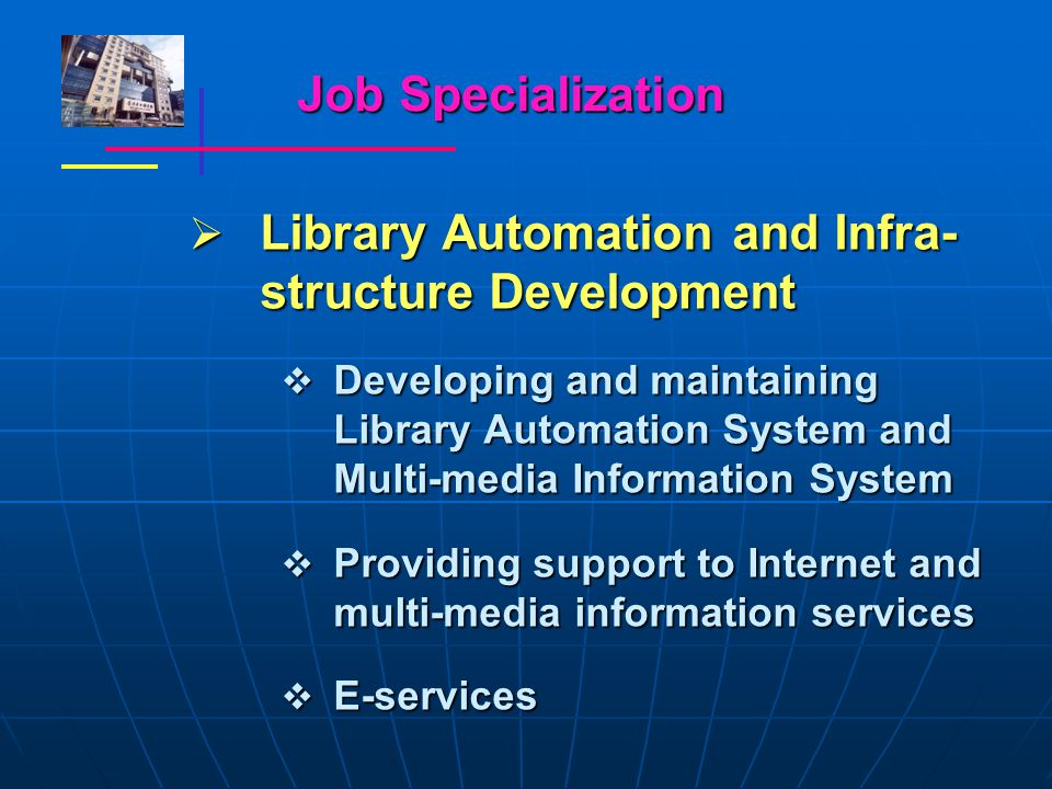 Job Specialization  Library Automation and Infra- structure Development  Developing and maintaining Library Automation System and Multi-media Information System  Providing support to Internet and multi-media information services  E-services