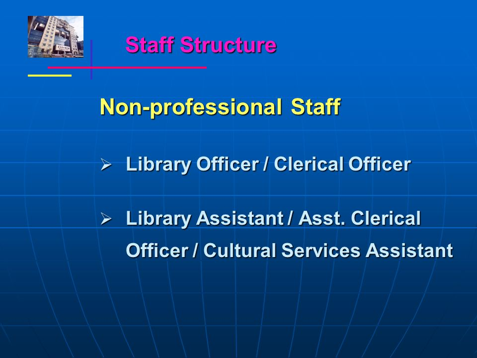 Staff Structure Non-professional Staff  Library Officer / Clerical Officer  Library Assistant / Asst.