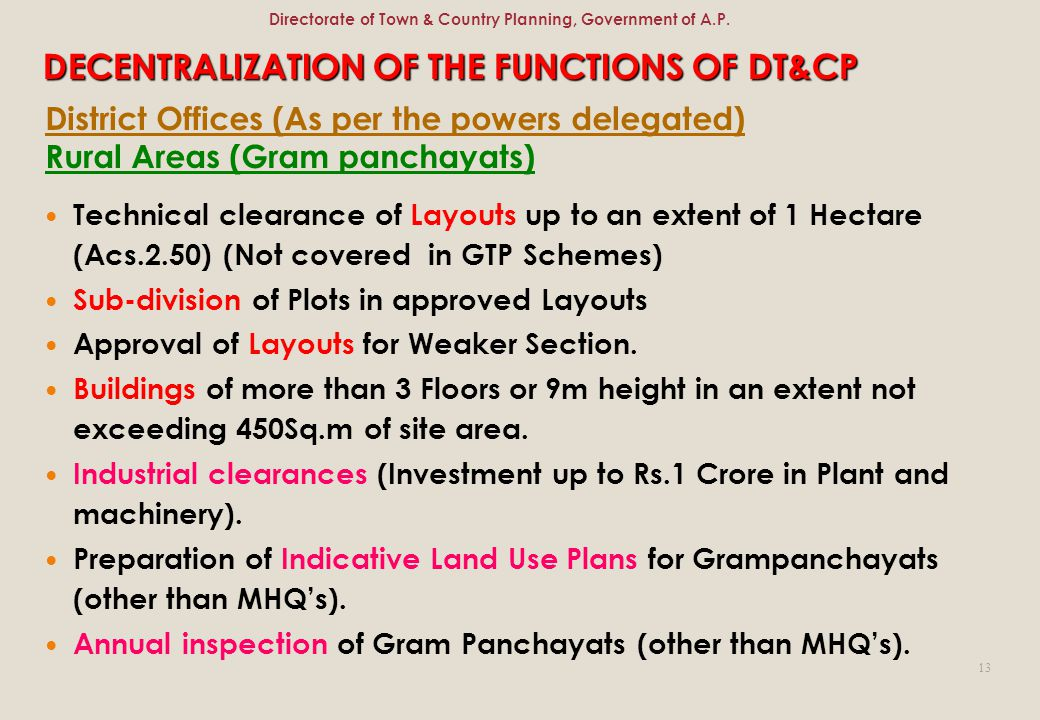 District Offices (As per the powers delegated) Rural Areas (Gram panchayats) Technical clearance of Layouts up to an extent of 1 Hectare (Acs.2.50) (N