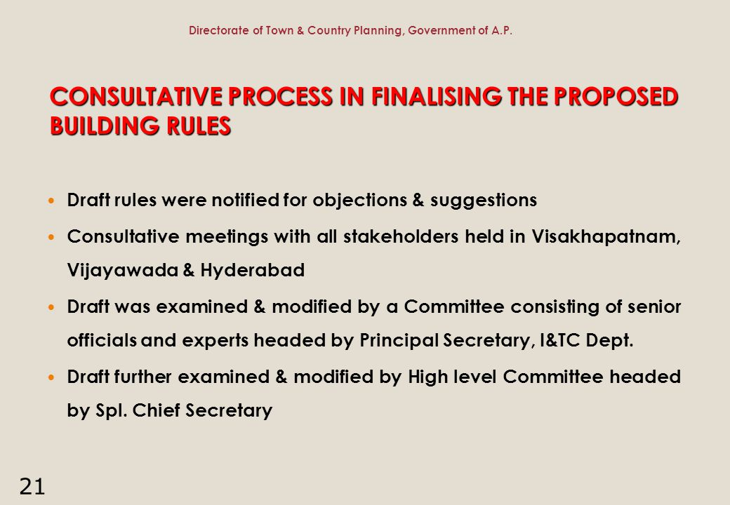 21 CONSULTATIVE PROCESS IN FINALISING THE PROPOSED BUILDING RULES Draft rules were notified for objections & suggestions Consultative meetings with al