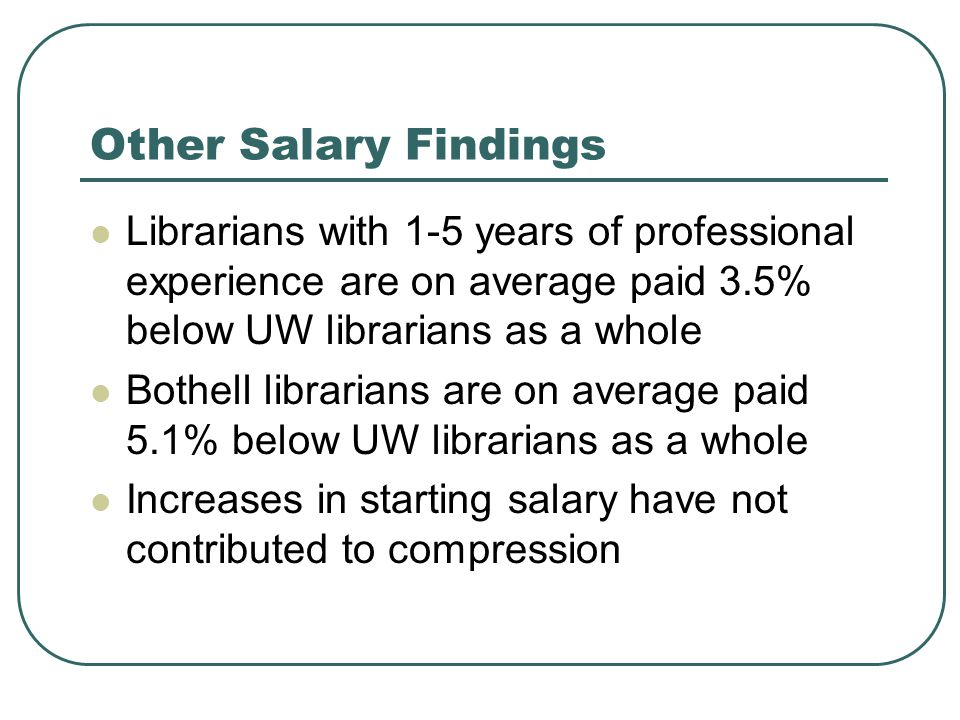 Other Salary Findings Librarians with 1-5 years of professional experience are on average paid 3.5% below UW librarians as a whole Bothell librarians