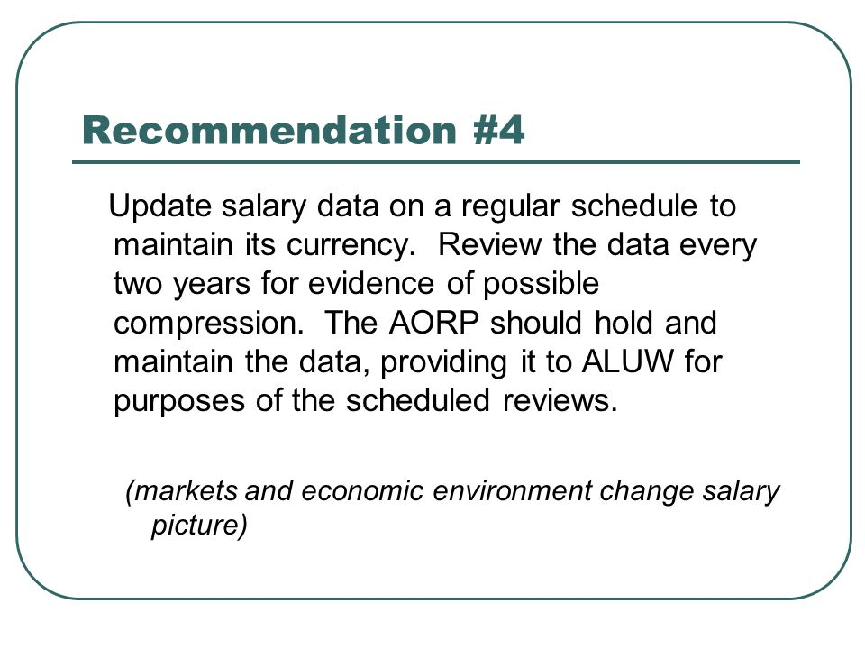 Recommendation #4 Update salary data on a regular schedule to maintain its currency. Review the data every two years for evidence of possible compress
