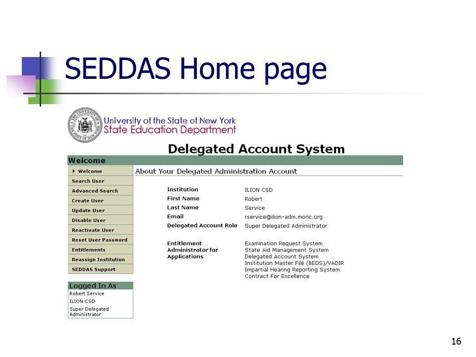 16 SEDDAS Home page