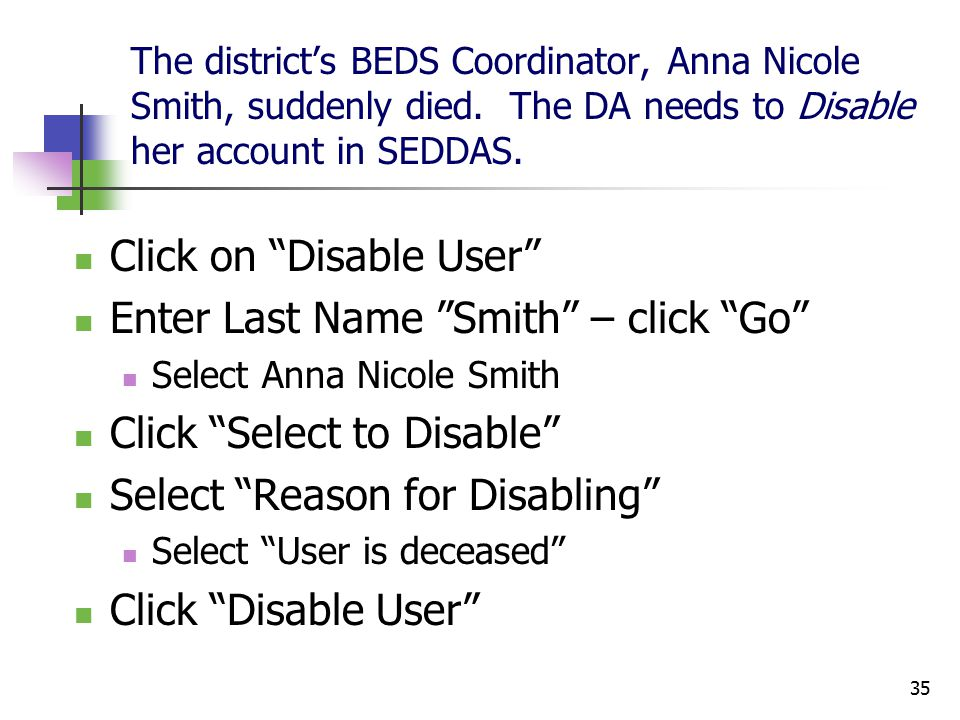 35 The district's BEDS Coordinator, Anna Nicole Smith, suddenly died.