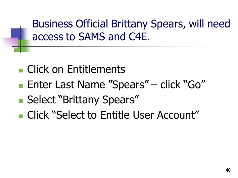 40 Business Official Brittany Spears, will need access to SAMS and C4E.