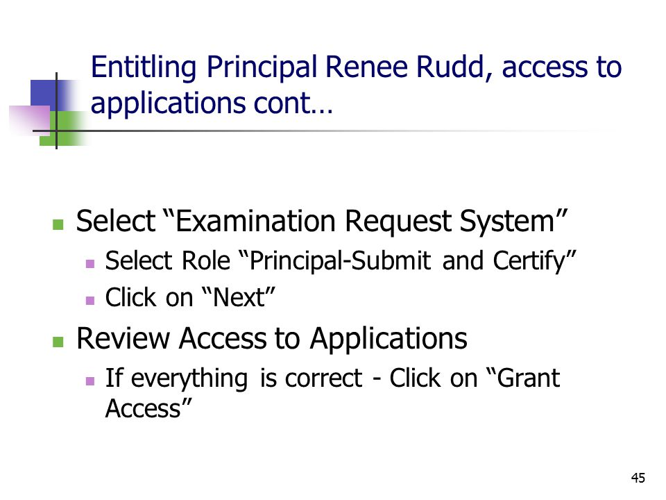 45 Entitling Principal Renee Rudd, access to applications cont… Select Examination Request System Select Role Principal-Submit and Certify Click on Next Review Access to Applications If everything is correct - Click on Grant Access