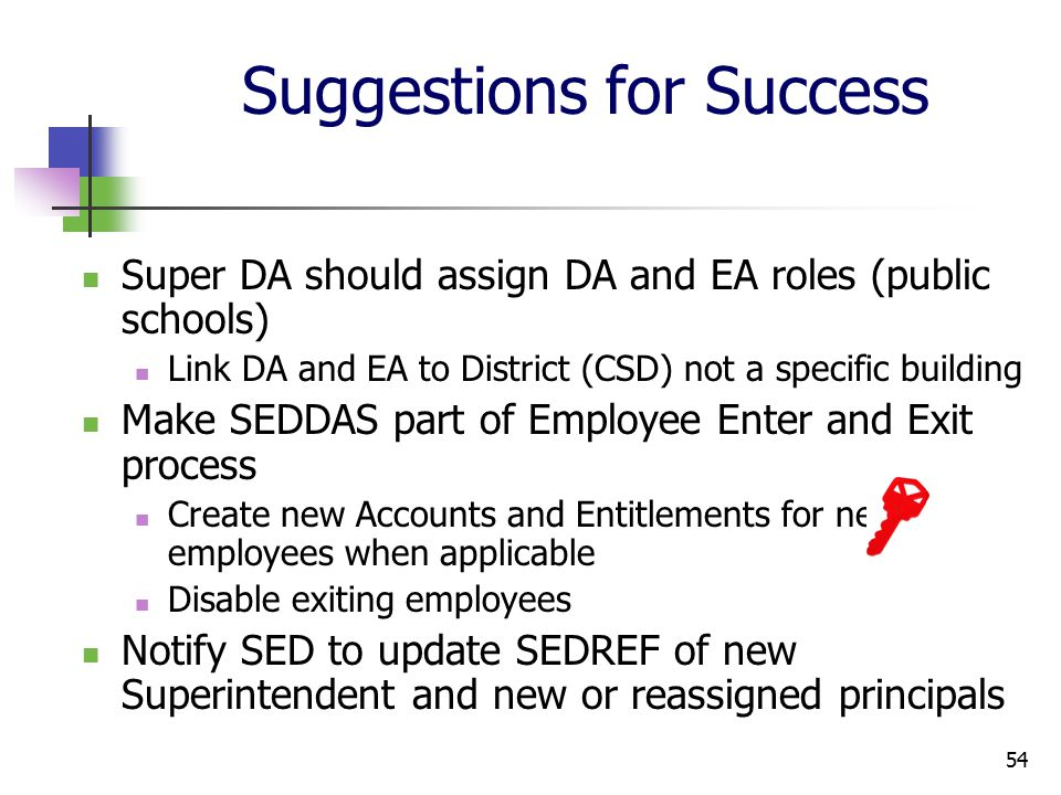 54 Suggestions for Success Super DA should assign DA and EA roles (public schools) Link DA and EA to District (CSD) not a specific building Make SEDDAS part of Employee Enter and Exit process Create new Accounts and Entitlements for new employees when applicable Disable exiting employees Notify SED to update SEDREF of new Superintendent and new or reassigned principals