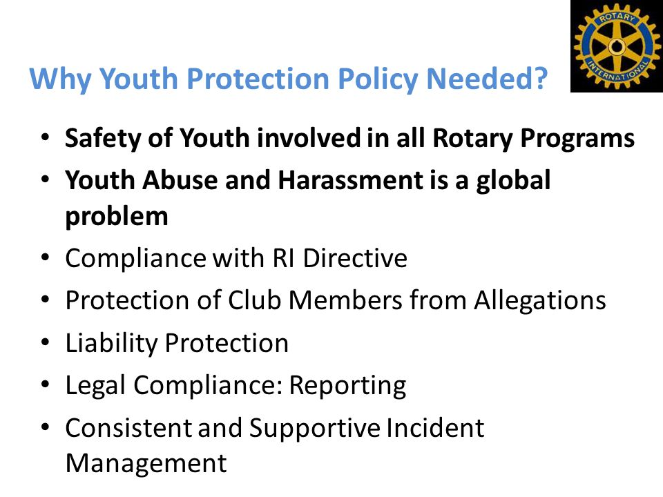 Why Youth Protection Policy Needed.