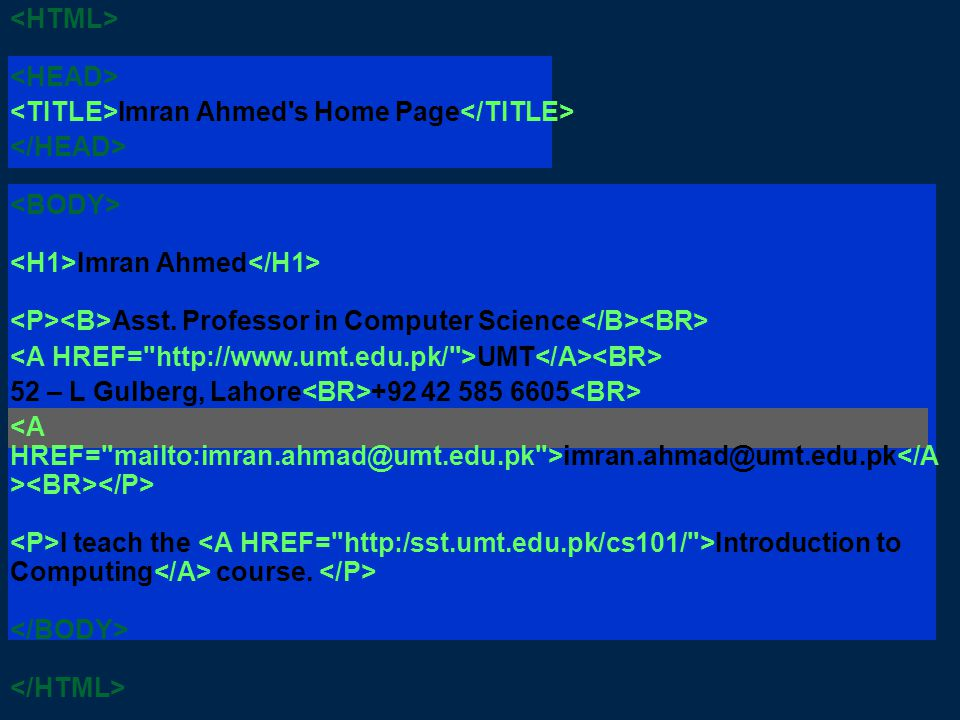 Imran Ahmed s Home Page Imran Ahmed Asst.