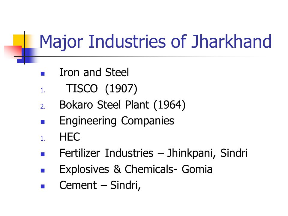 Major Industries of Jharkhand Iron and Steel 1. TISCO (1907) 2.