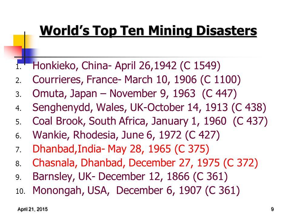 April 21, 2015April 21, 2015April 21, 2015 9 World's Top Ten Mining Disasters 1.