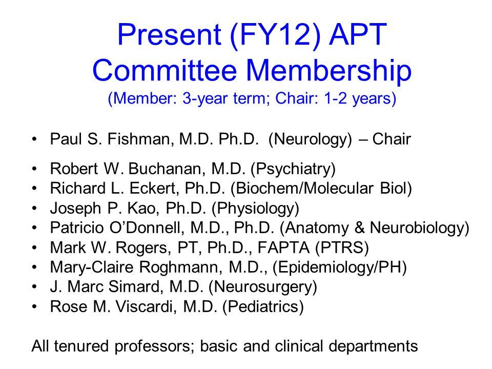 Present (FY12) APT Committee Membership (Member: 3-year term; Chair: 1-2 years) Paul S.