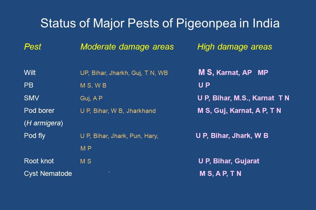 PestModerate damage areas High damage areas Wilt UP, Bihar, Jharkh, Guj, T N, WB M S, Karnat, AP MP PB M S, W B U P SMV Guj, A P U P, Bihar, M.S., Kar