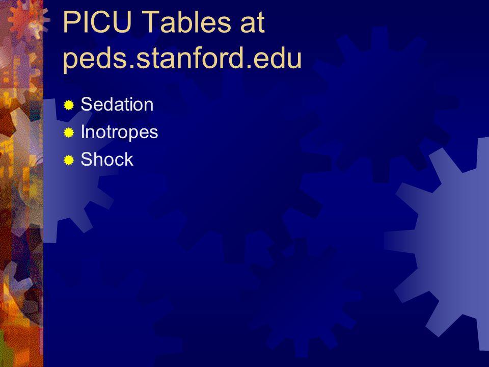 PICU Tables at peds.stanford.edu  Sedation  Inotropes  Shock