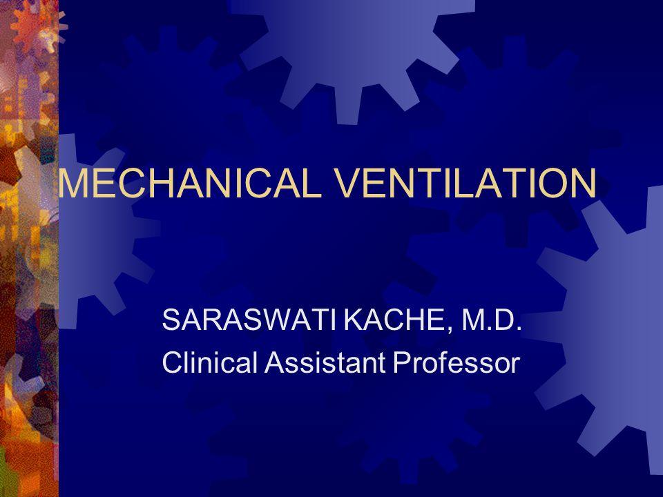 MECHANICAL VENTILATION SARASWATI KACHE, M.D. Clinical Assistant Professor