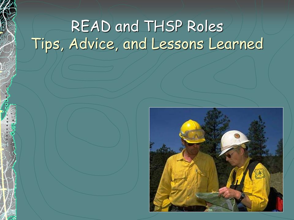 READ and THSP Roles Tips, Advice, and Lessons Learned
