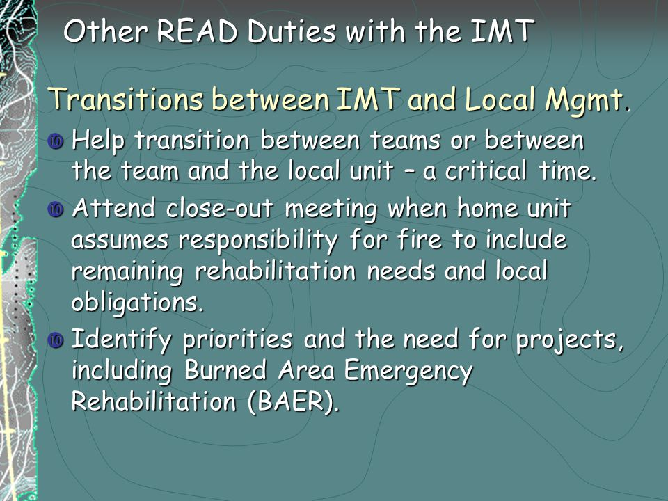 Transitions between IMT and Local Mgmt.