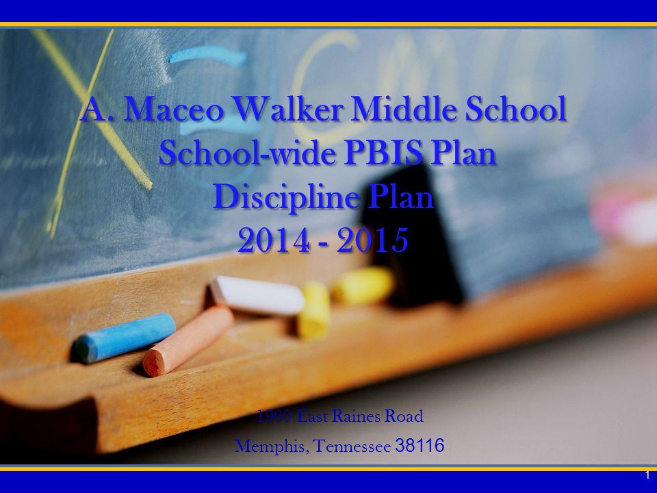 A. Maceo Walker Middle School School-wide PBIS Plan Discipline Plan 2014 - 2015 1900 East Raines Road Memphis, Tennessee 38116 1