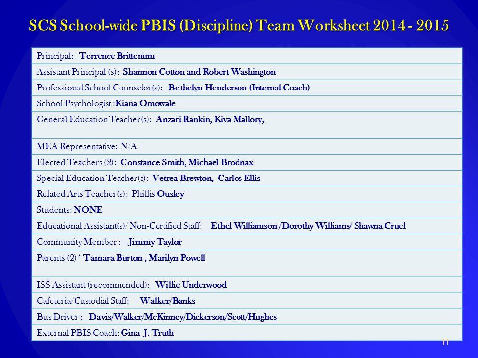 SCS School-wide PBIS (Discipline) Team Worksheet 2014 - 2015 Principal: Terrence Brittenum Assistant Principal (s): Shannon Cotton and Robert Washingt