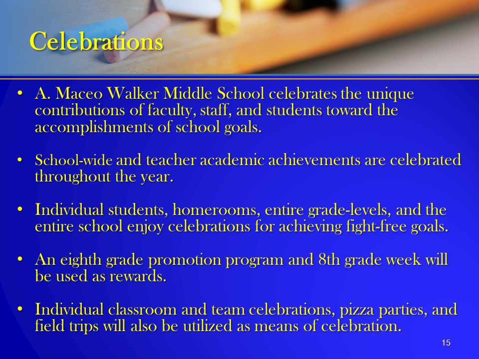 A. Maceo Walker Middle School celebrates the unique contributions of faculty, staff, and students toward the accomplishments of school goals. A. Maceo