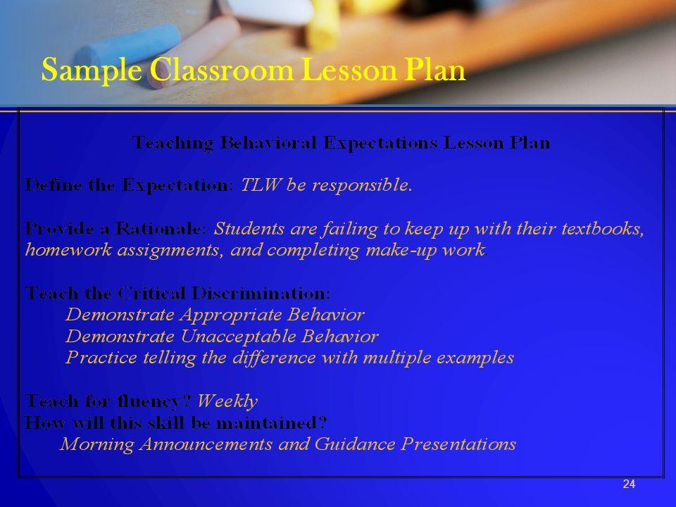 24 Sample Classroom Lesson Plan