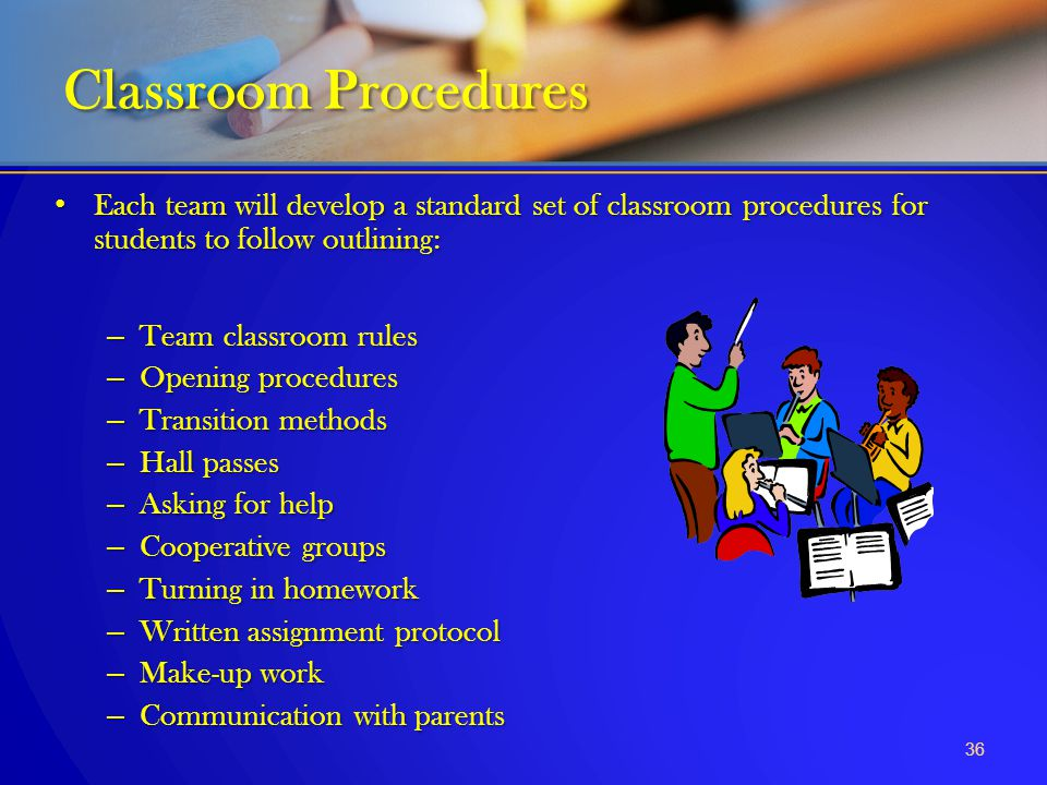 Each team will develop a standard set of classroom procedures for students to follow outlining: Each team will develop a standard set of classroom pro