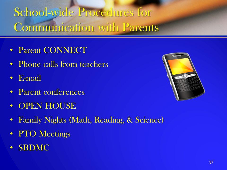 Parent CONNECT Parent CONNECT Phone calls from teachers Phone calls from teachers E-mail E-mail Parent conferences Parent conferences OPEN HOUSE OPEN
