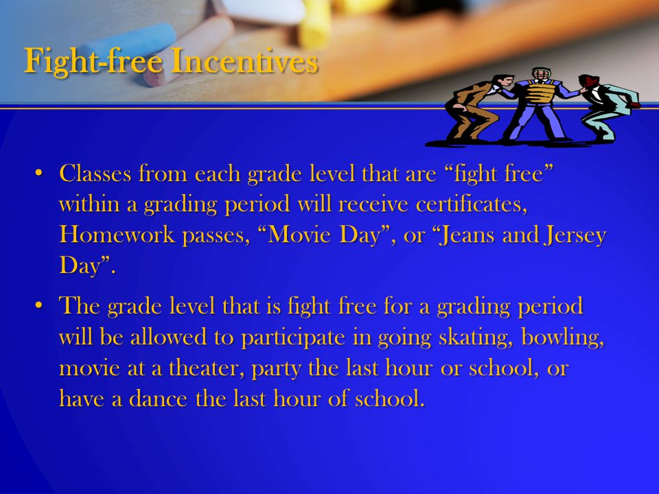 """Classes from each grade level that are """"fight free"""" within a grading period will receive certificates, Homework passes, """"Movie Day"""", or """"Jeans and Jer"""
