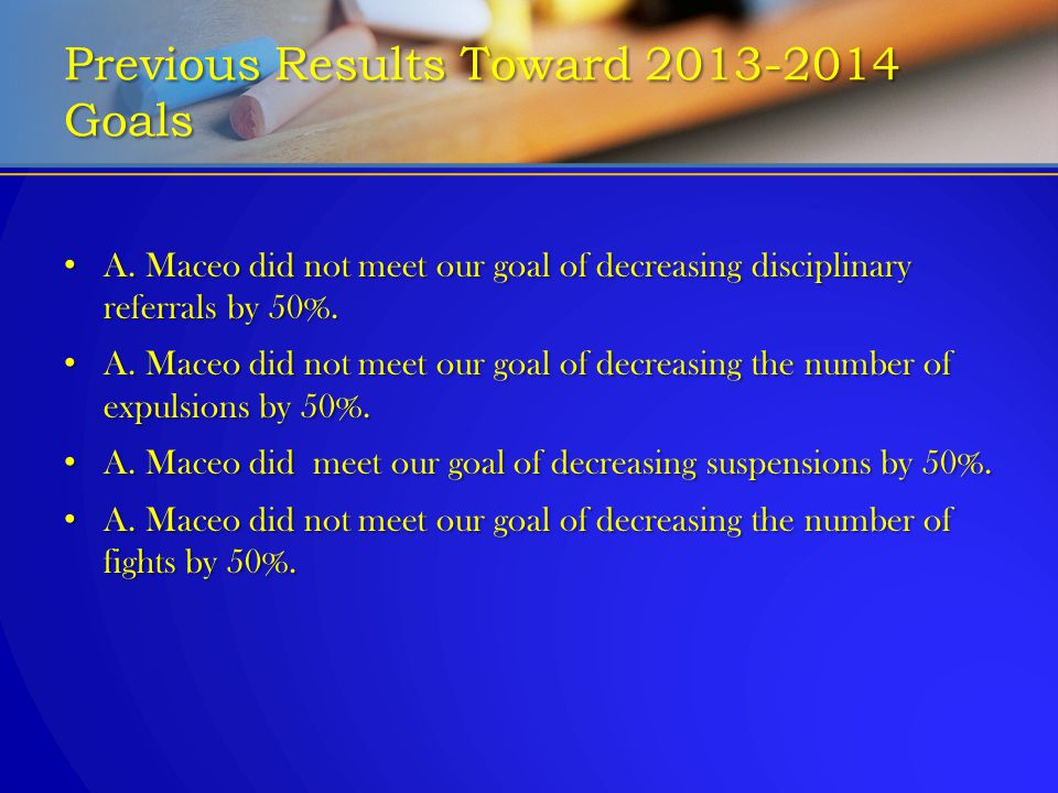 Previous Results Toward 2013-2014 Goals A. Maceo did not meet our goal of decreasing disciplinary referrals by 50%. A. Maceo did not meet our goal of