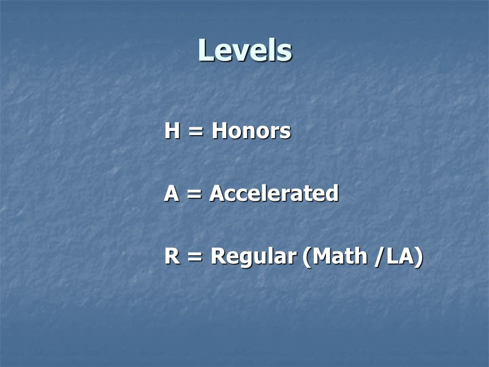 Levels H = Honors A = Accelerated R = Regular (Math /LA)