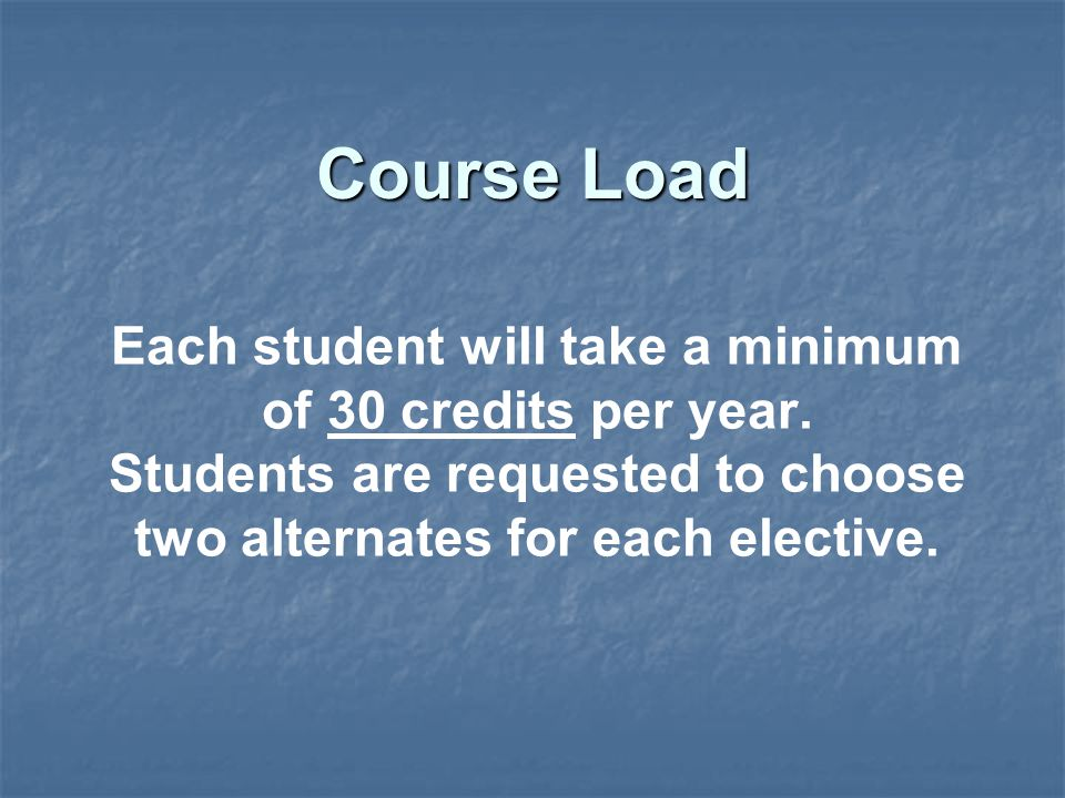 Each student will take a minimum of 30 credits per year.