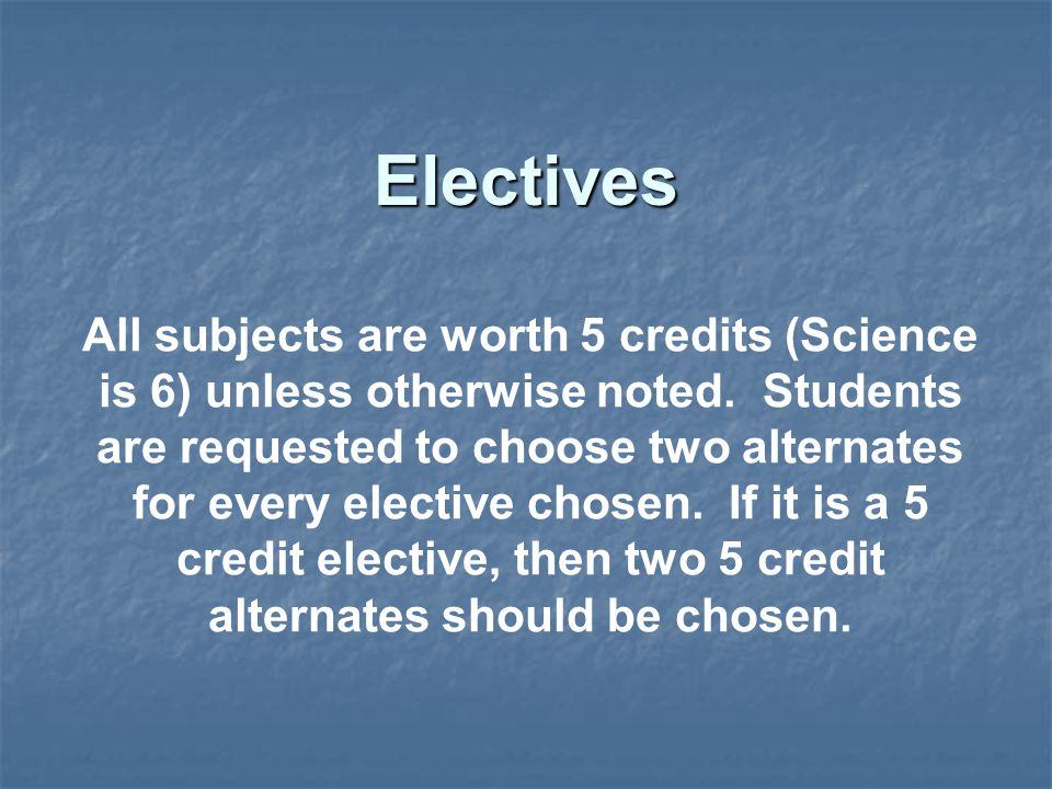 All subjects are worth 5 credits (Science is 6) unless otherwise noted.