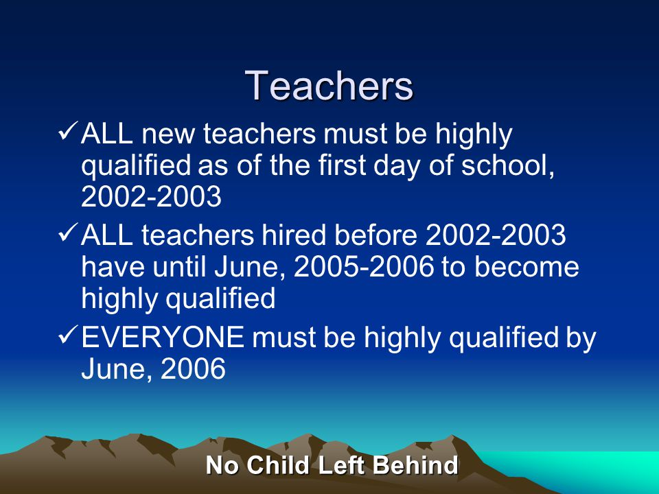 No Child Left Behind Paraprofessionals Hired after January 8, 2002: –Complete two years of higher education study OR –Have an A.A./A.S degree OR –Pass