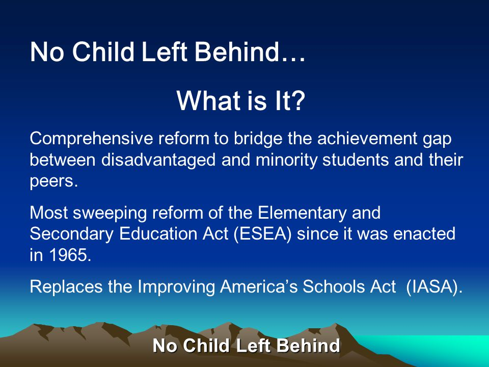 No Child Left Behind Title VI Flexibility and Accountability Part A—Improving Academic Achievement Title VII Indian, Native Hawaiian and Alaska Native Education Part A—Indian Education Title VIIIImpact Aid Program Title IXGeneral Provisions Title XRepeals, Resignations and Amendments to Other Statues