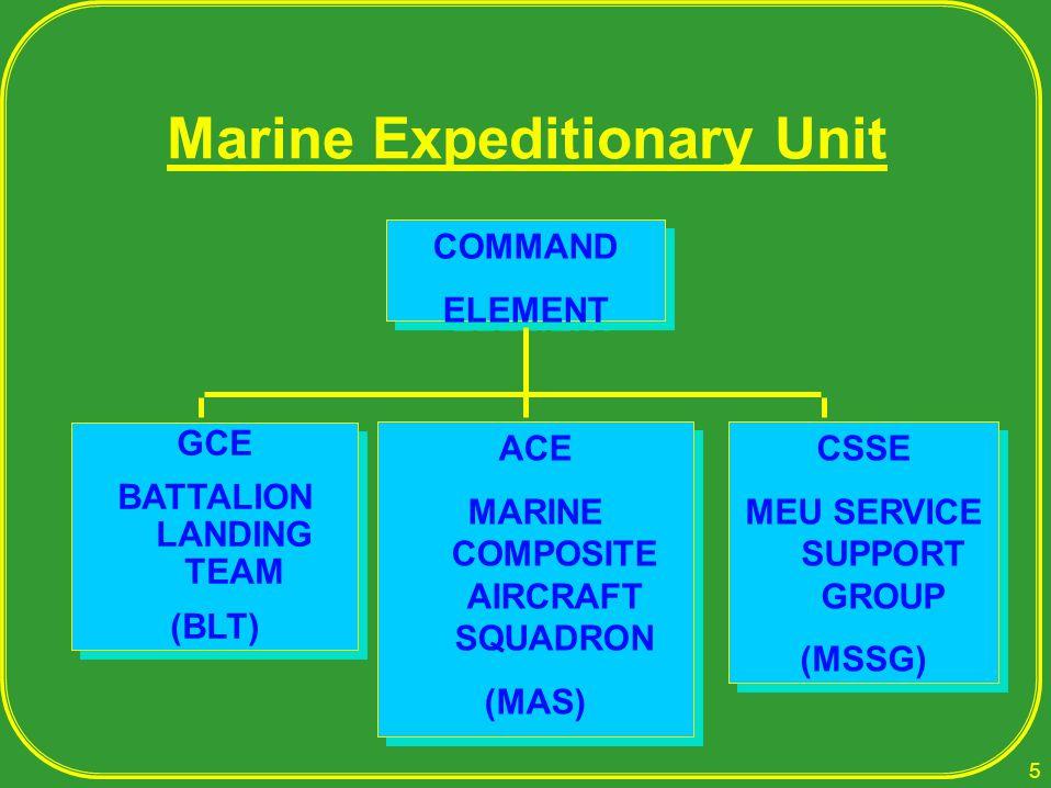 Marine Expeditionary Unit COMMAND ELEMENT COMMAND ELEMENT GCE BATTALION LANDING TEAM (BLT) GCE BATTALION LANDING TEAM (BLT) ACE MARINE COMPOSITE AIRCR