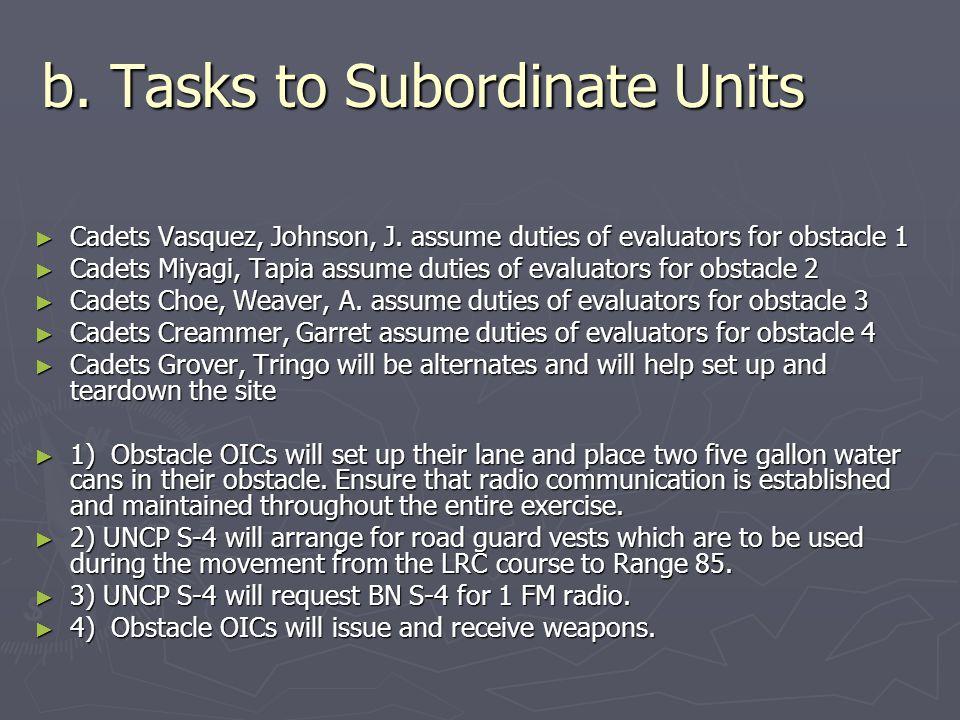 b. Tasks to Subordinate Units ► Cadets Vasquez, Johnson, J. assume duties of evaluators for obstacle 1 ► Cadets Miyagi, Tapia assume duties of evaluat