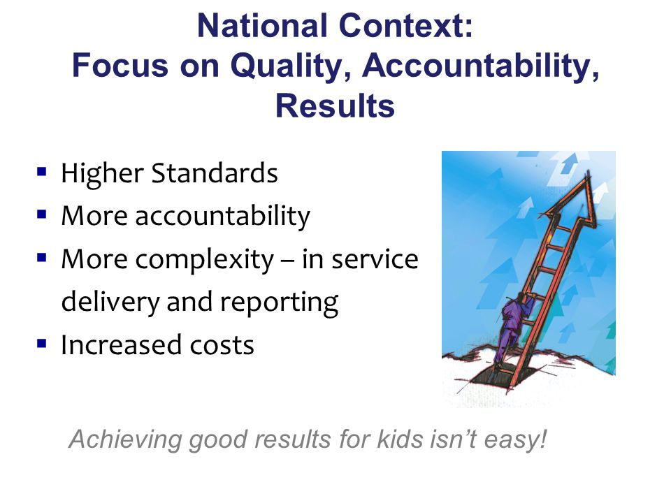  Higher Standards  More accountability  More complexity – in service delivery and reporting  Increased costs National Context: Focus on Quality, Accountability, Results Achieving good results for kids isn't easy!