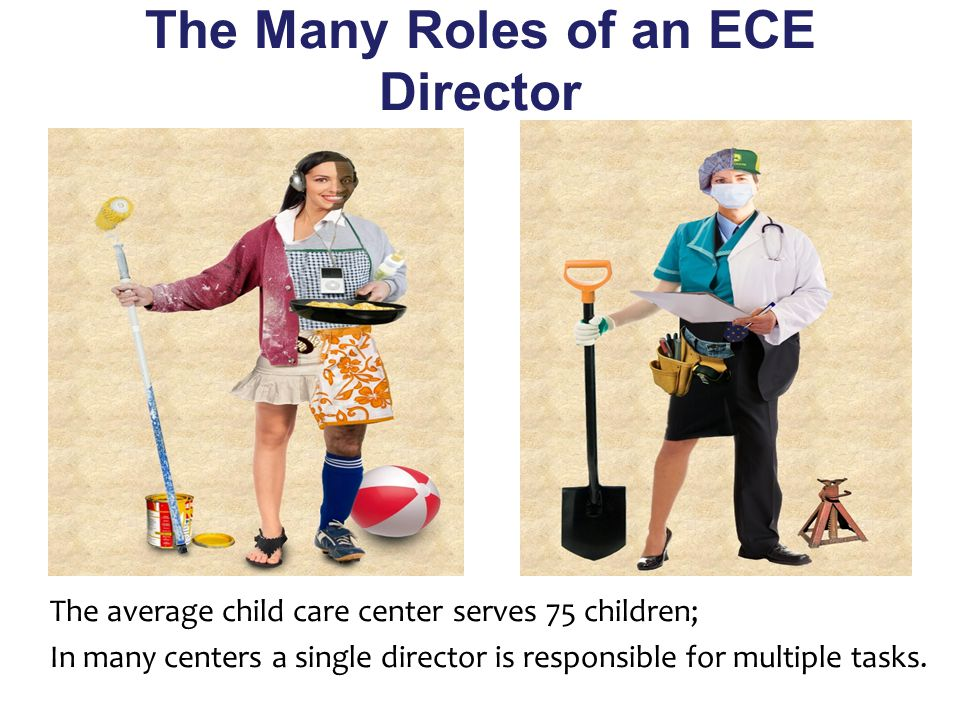 The Many Roles of an ECE Director The average child care center serves 75 children; In many centers a single director is responsible for multiple tasks.